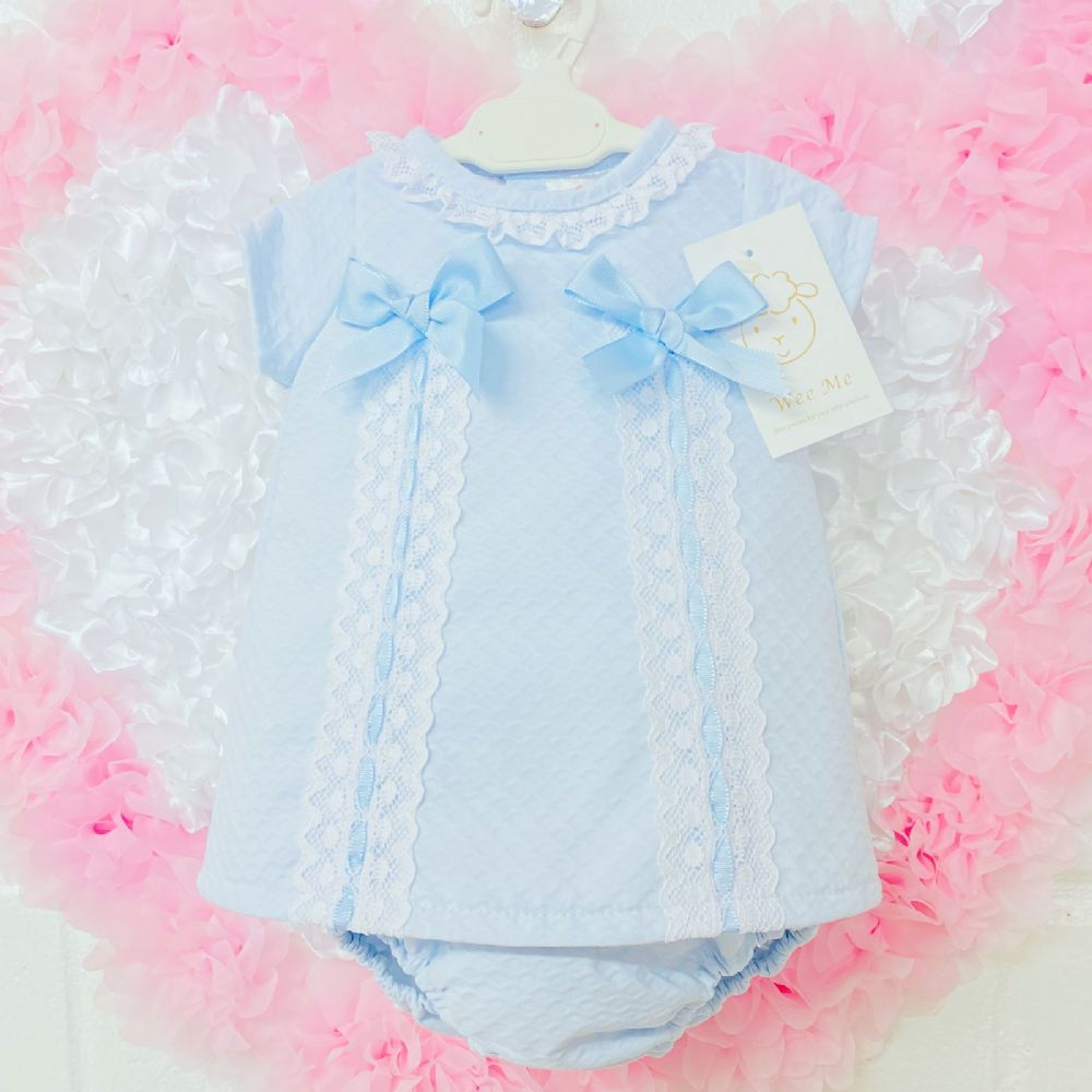 * Baby Girl Spanish Blue Waffle Dress with Two Bows Pants Set